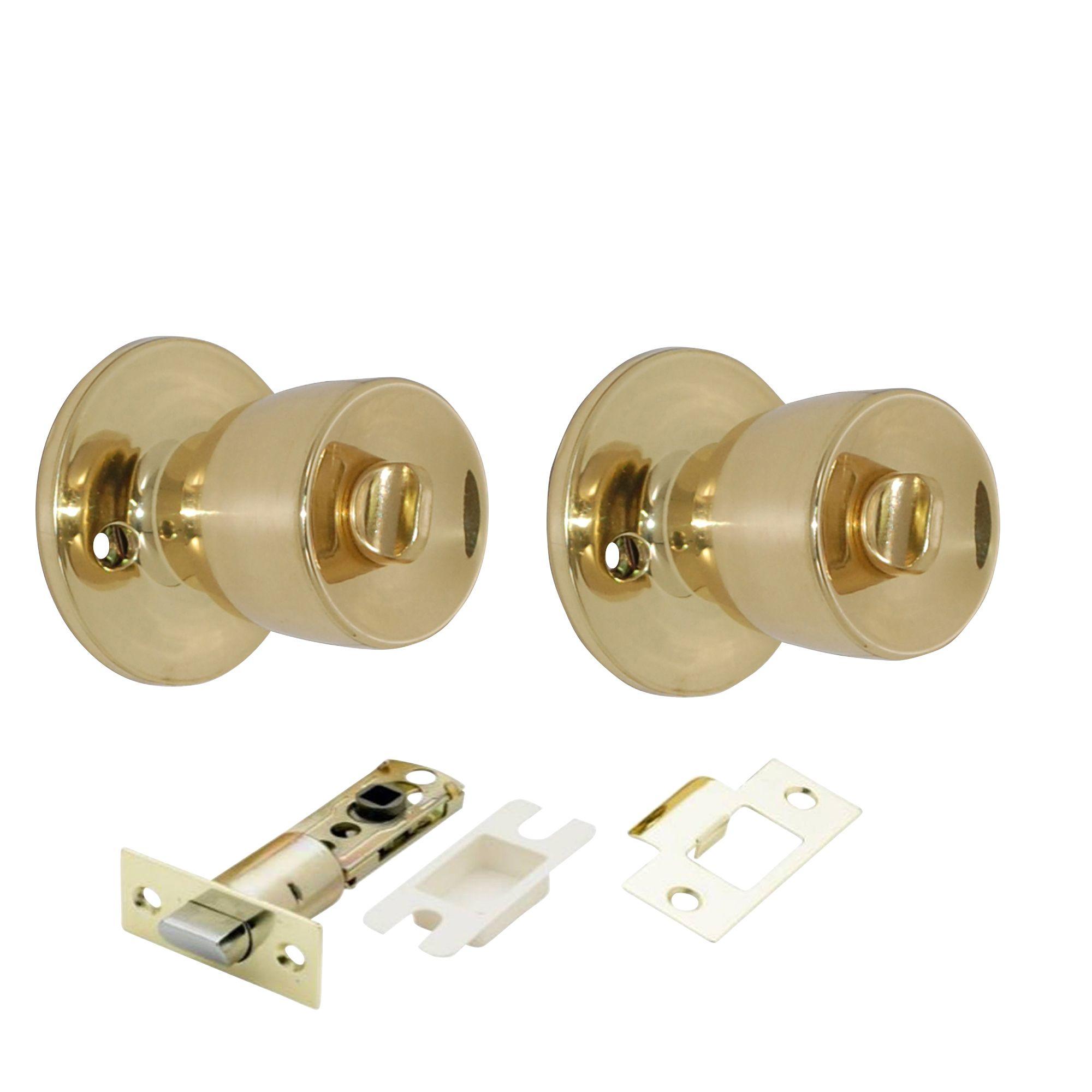 Polished Brass Effect Internal Round Bathroom Door Knob 1