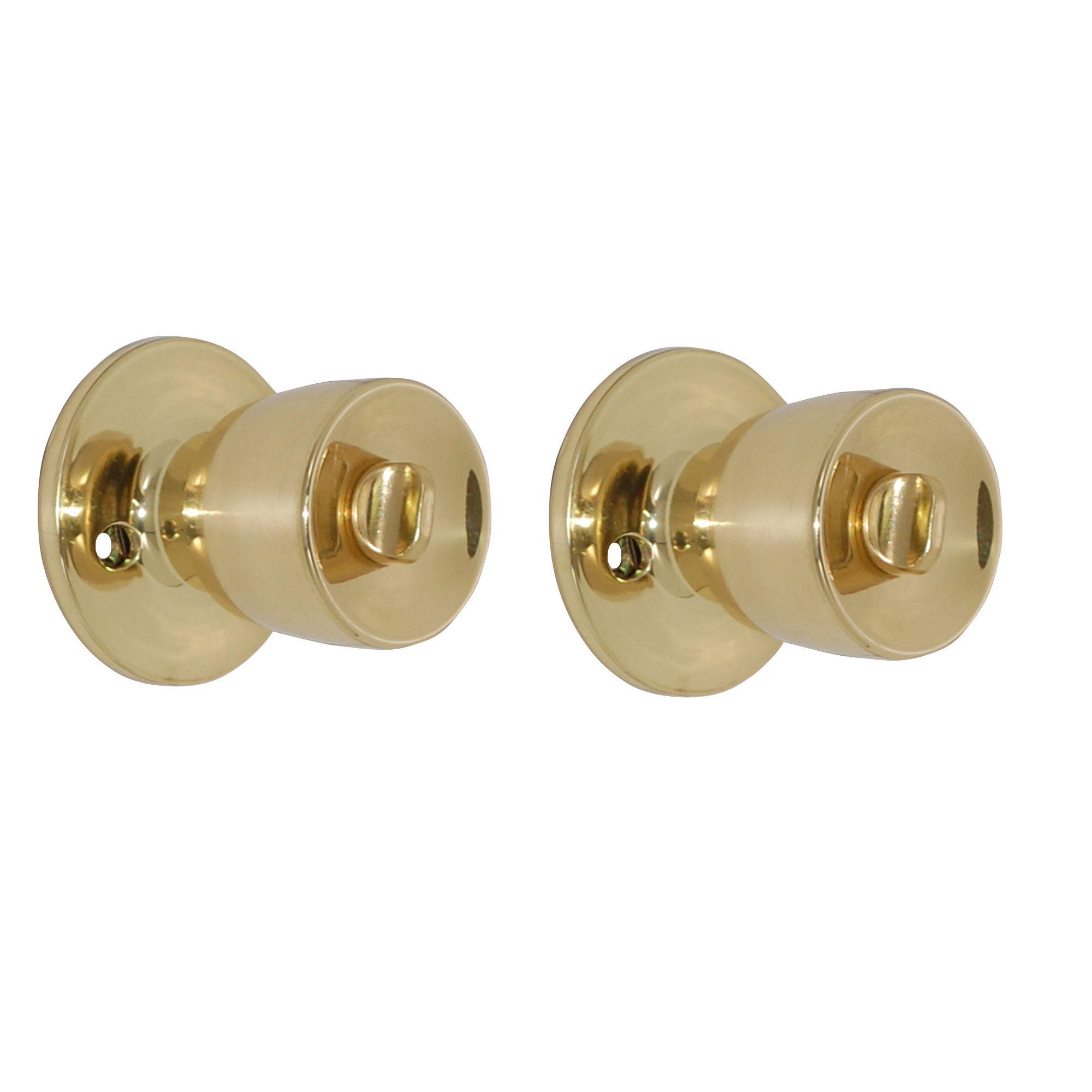 Polished Brass Effect Internal Round Lock Door Knob, 1 Set