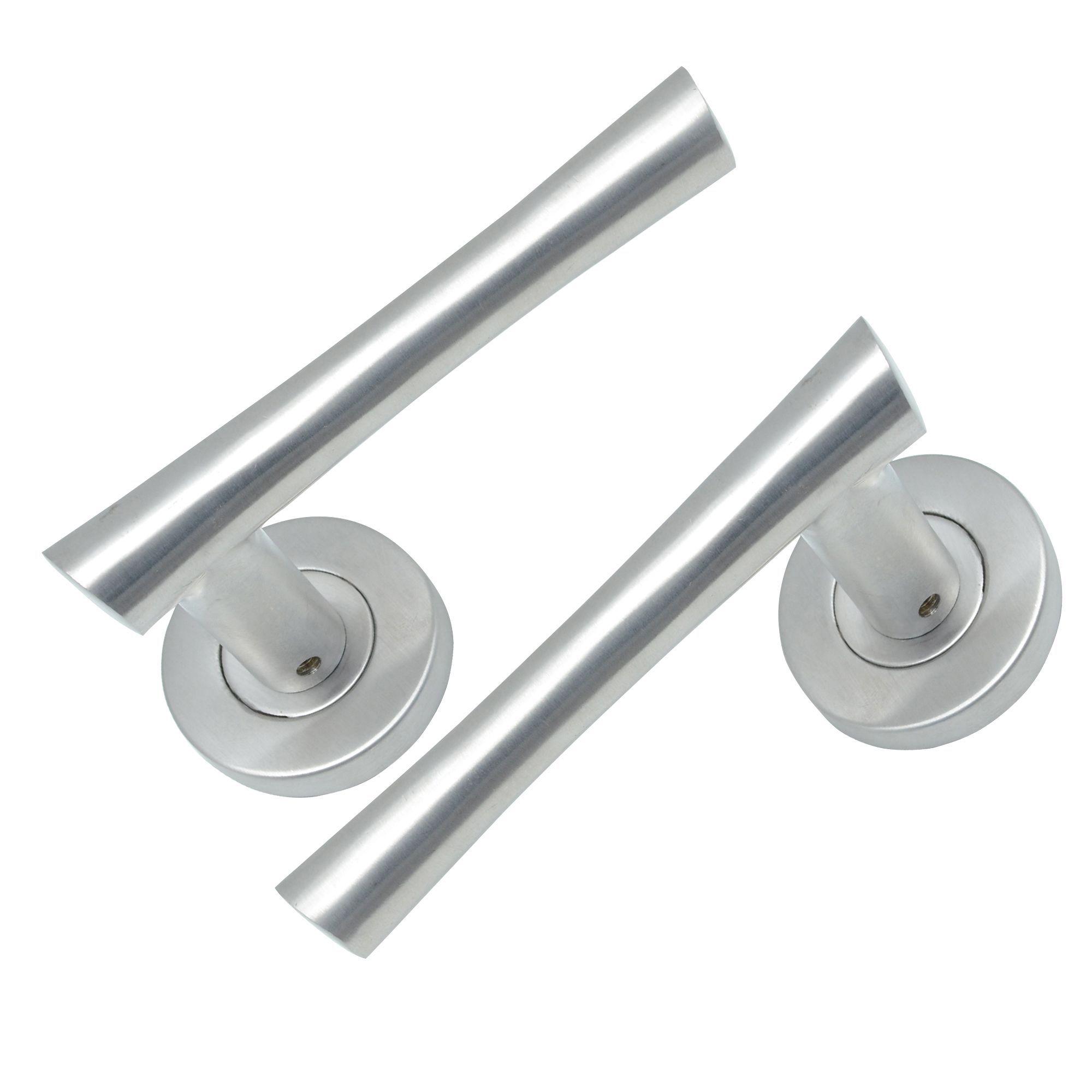 Satin Stainless Steel Effect Internal Straight Latch Door Handle, 1 Set