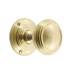 B&Q Select Brass Effect Round Internal Mortice Knob,