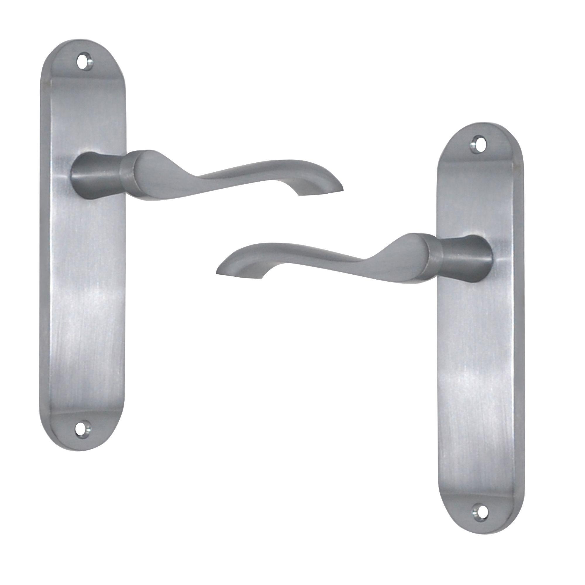 Satin Chrome Effect Internal Scroll Latch Door Handle 1