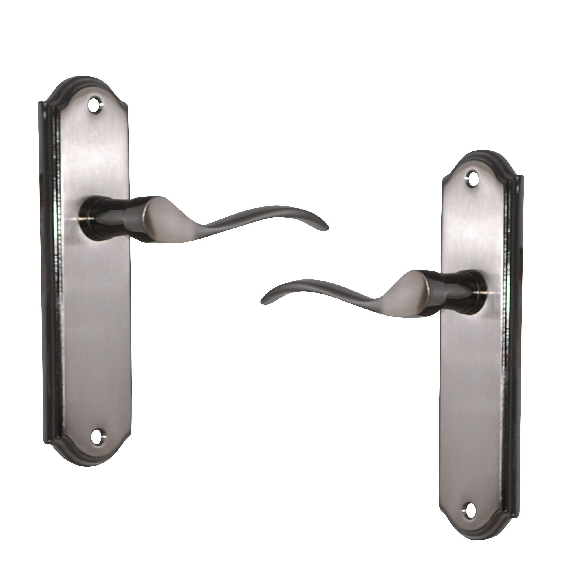 Satin Iridium Effect Internal Straight Latch Door Handle, 1 Set