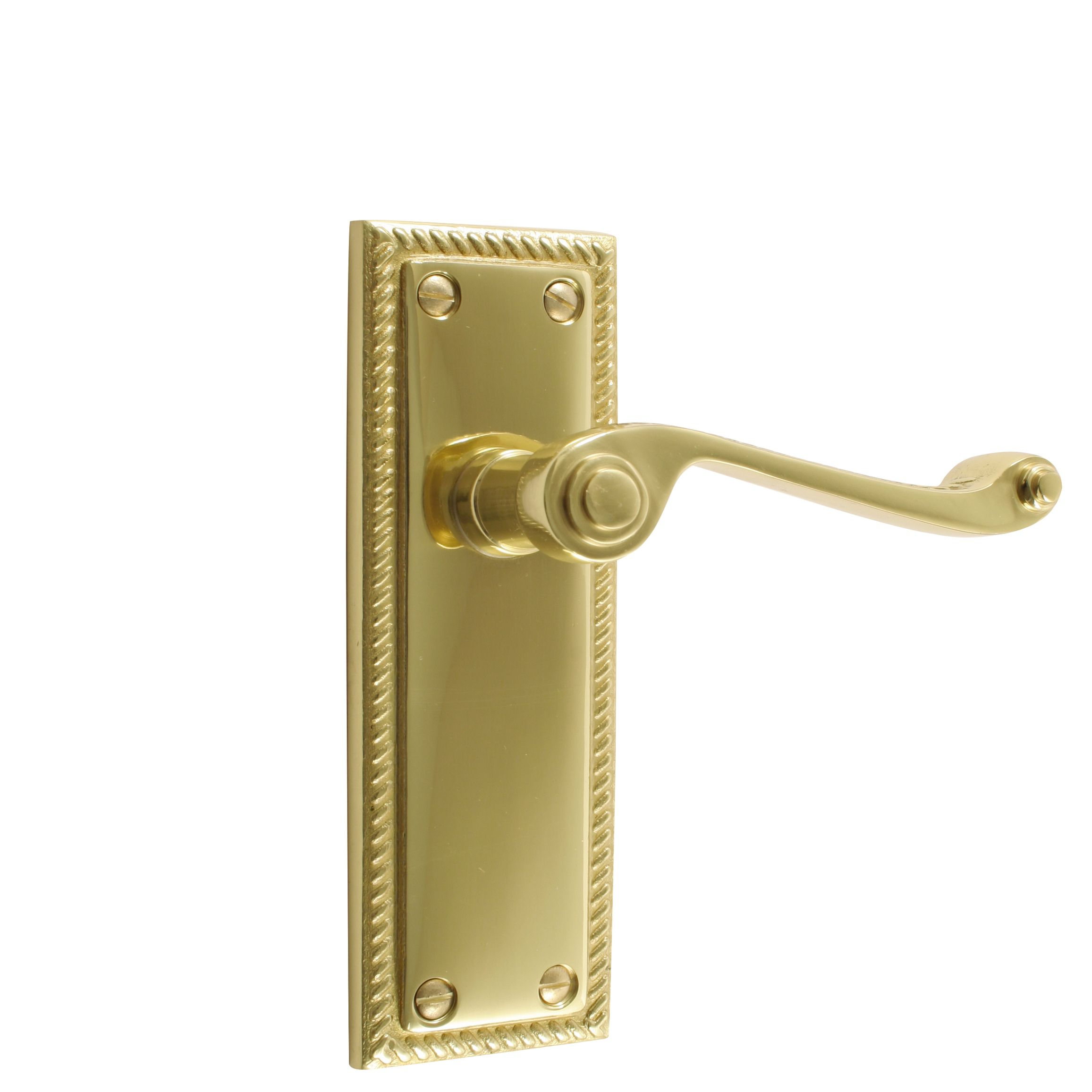 B Amp Q Polished Brass Effect Straight Internal Lever Latch