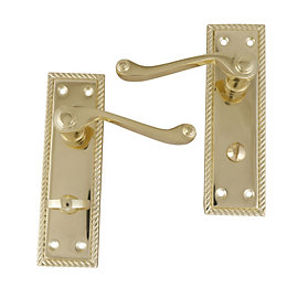 Polished Brass Effect Internal Scroll Bathroom Door Handle,