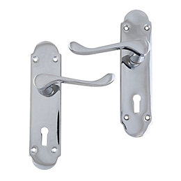 Polished Chrome Effect Internal Scroll Lock Door Handle,