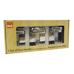 B&Q Polished Straight Door Handle, Pack of 3
