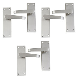 Satin Nickel Effect Internal Straight Latch Door Handle,