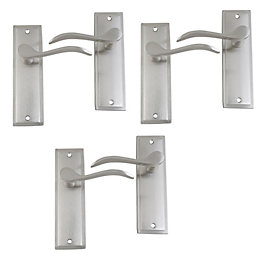 Satin Nickel Effect Internal Scroll Latch Door Handle,