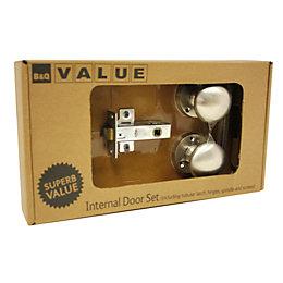 B&Q Value Nickel Effect Round Internal Door Knob,