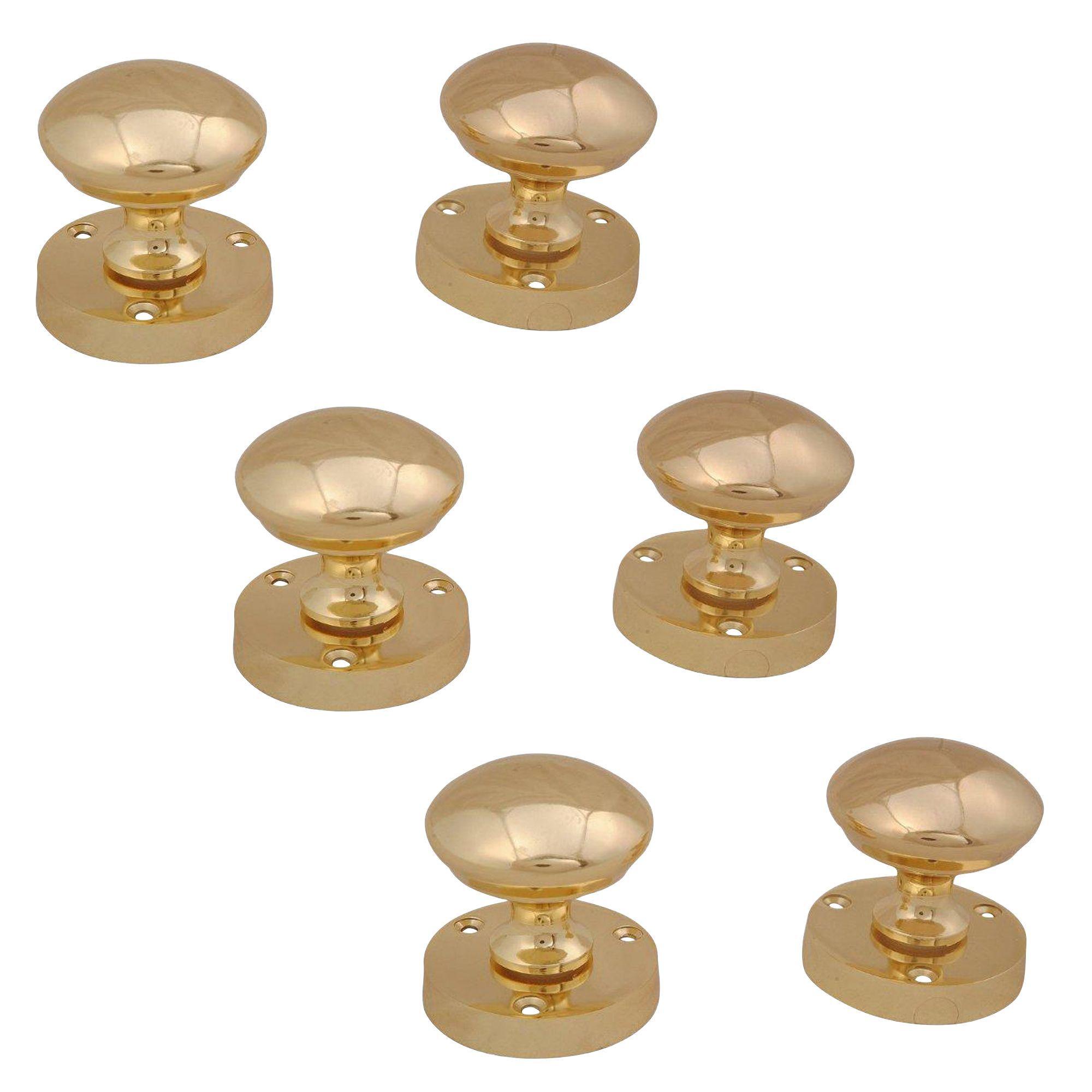 Polished Brass Effect Internal Round Latch Door Knob, 3 Set