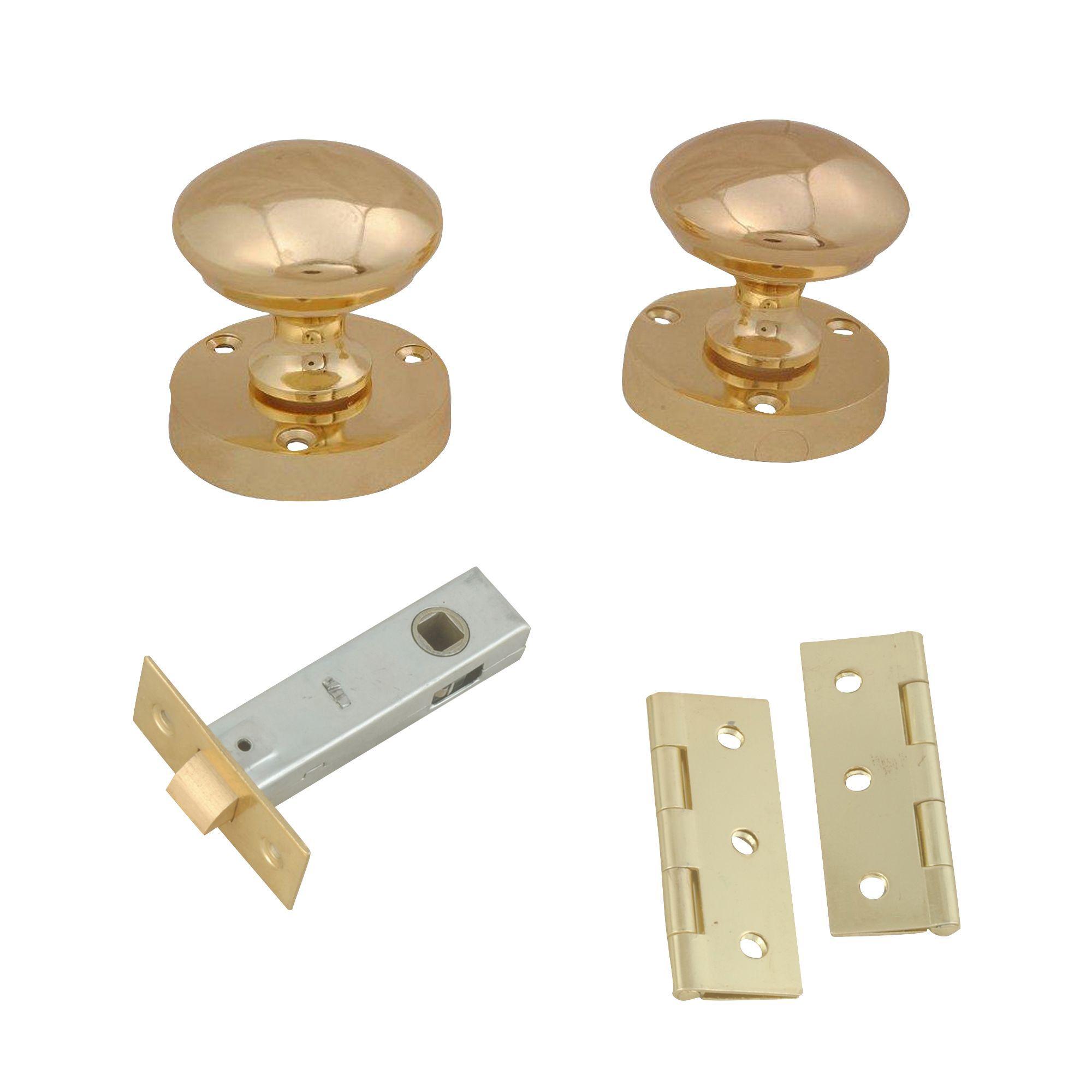 Polished Brass Effect Internal Round Latch Door Knob, 1 Set