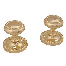 Polished Brass Effect Internal Round Latch Door Knob,