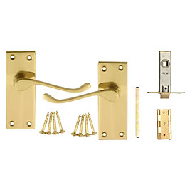 B&Q Value Polished Brass Effect Scroll Latch Door