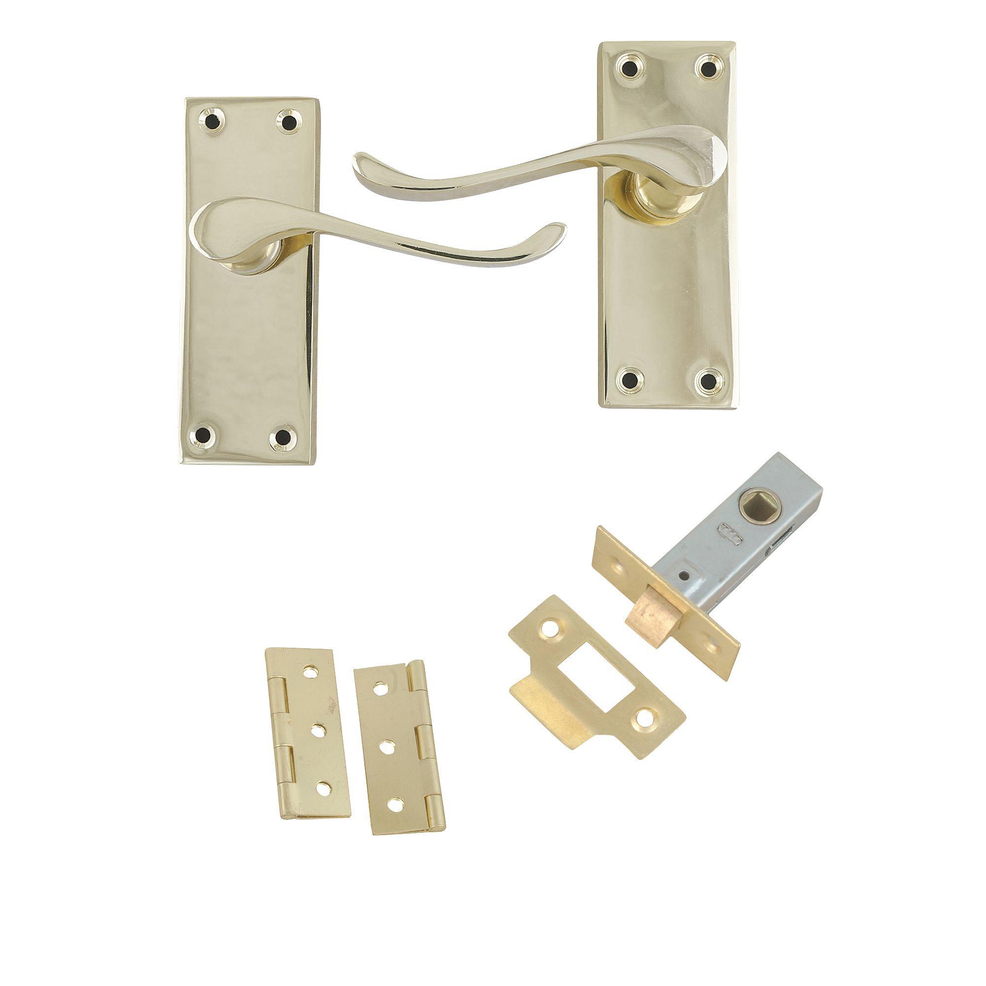 Polished Brass Effect Internal Scroll Latch Door Handle, 1 Set