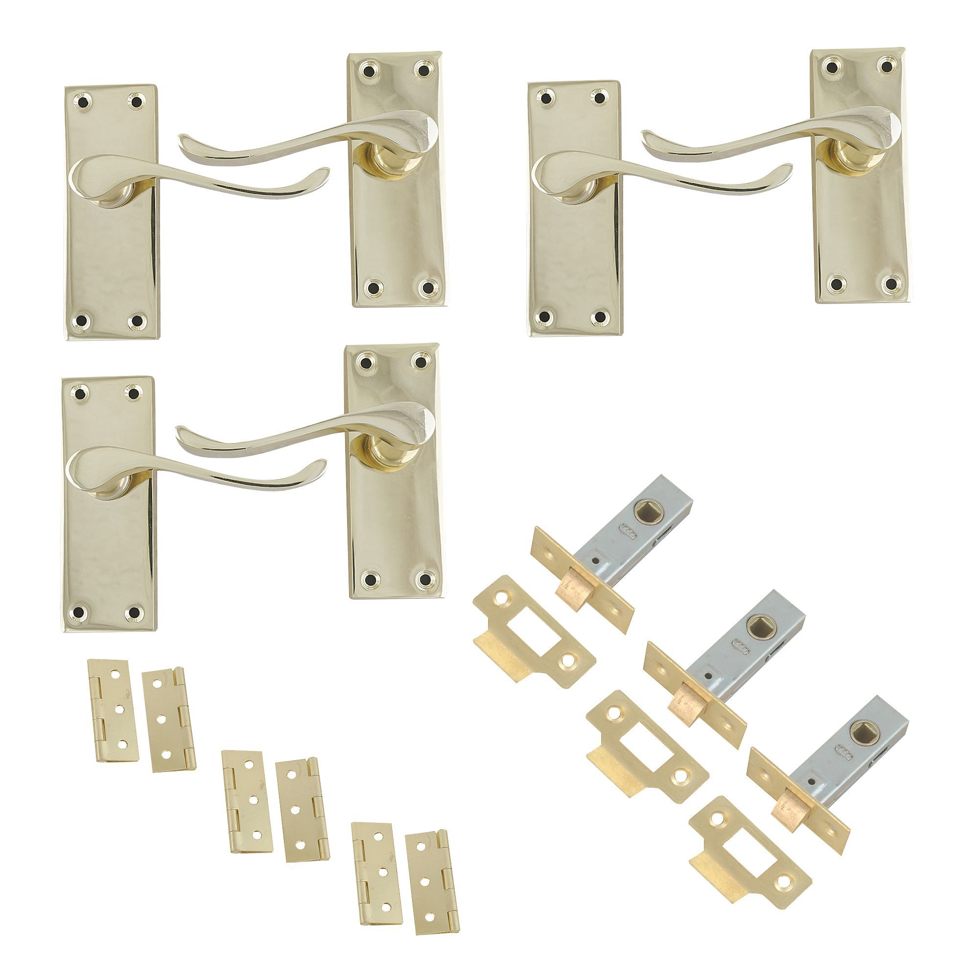 Polished Brass Effect Internal Scroll Latch Door Handle, 3 Set