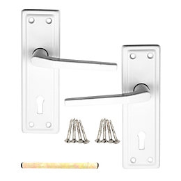 B&Q Value White Straight Door Handle, Pack of