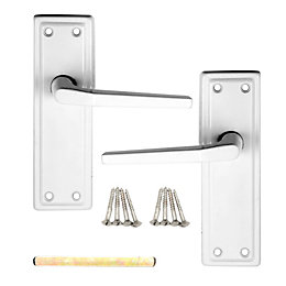 B&Q Value White Straight Latch Door Handle, 1
