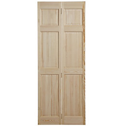 6 Panel Clear Pine Internal Bi-Fold Door, (H)1981mm