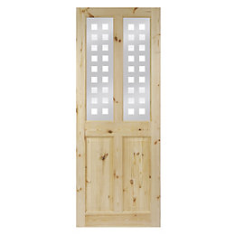 4 Panel Knotty Pine Glazed Internal Door, (H)2032mm