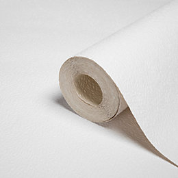 B&Q White Small Stipple Textured Paintable Wallpaper