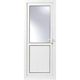 White PVCu Half Glazed Back Door & Frame