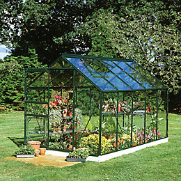 Green B&Q 6X10 Horticultural Glass Greenhouse