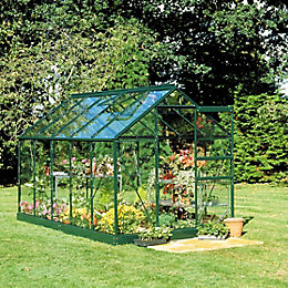 Green B&Q 6X6 Toughened Safety Glass Greenhouse