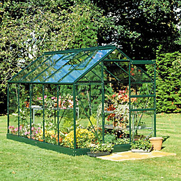 Green B&Q 6X8 Toughened Safety Glass Greenhouse
