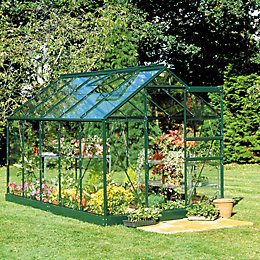 Green B&Q 6X10 Toughened Safety Glass Greenhouse