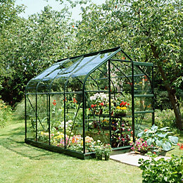Green B&Q 6X8 Horticultural Glass Greenhouse