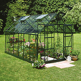 Green B&Q 8X12 Horticultural Glass Greenhouse
