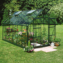 Green B&Q 8X10 Toughened Safety Glass Greenhouse