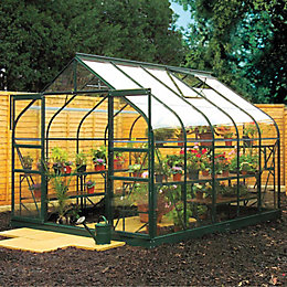 Green B&Q 8X12 Toughened Safety Glass Greenhouse