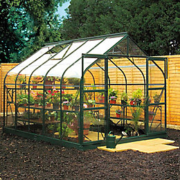 Green B&Q 8X14 Toughened Safety Glass Greenhouse
