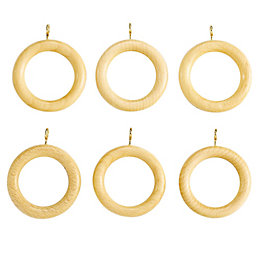 Colours Modern Pine Effect Wood Curtain Ring (Dia)28mm