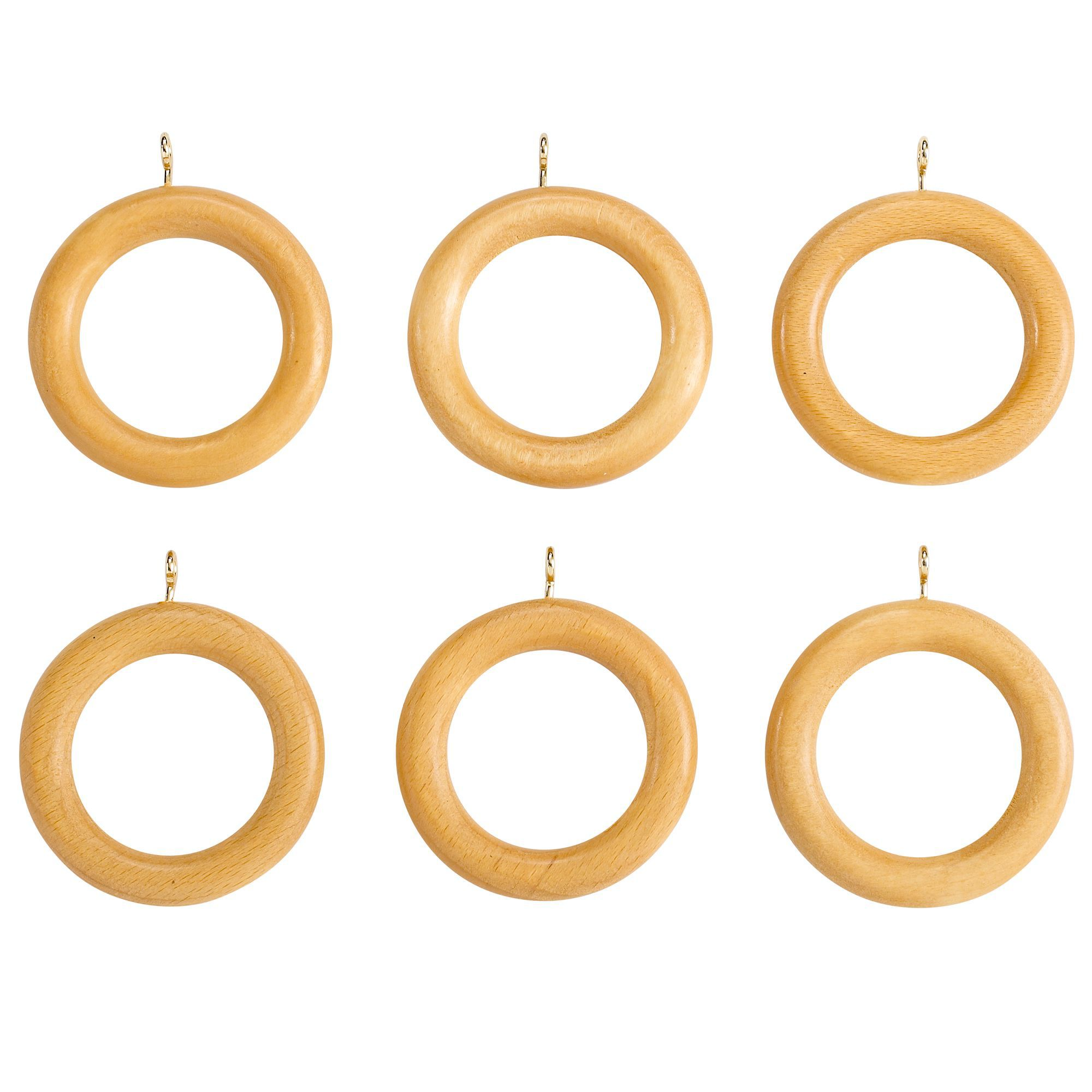 Colours Modern Beech Effect Wood Curtain Ring (Dia)35mm ...