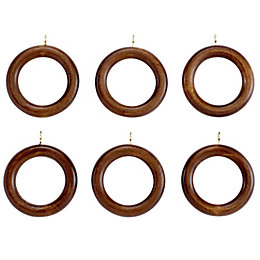 Colours Modern Walnut Effect Wood Curtain Ring (Dia)35mm
