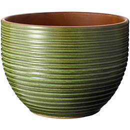 Ribbed Glazed Green Plant Pot (H)18cm (Dia)24cm