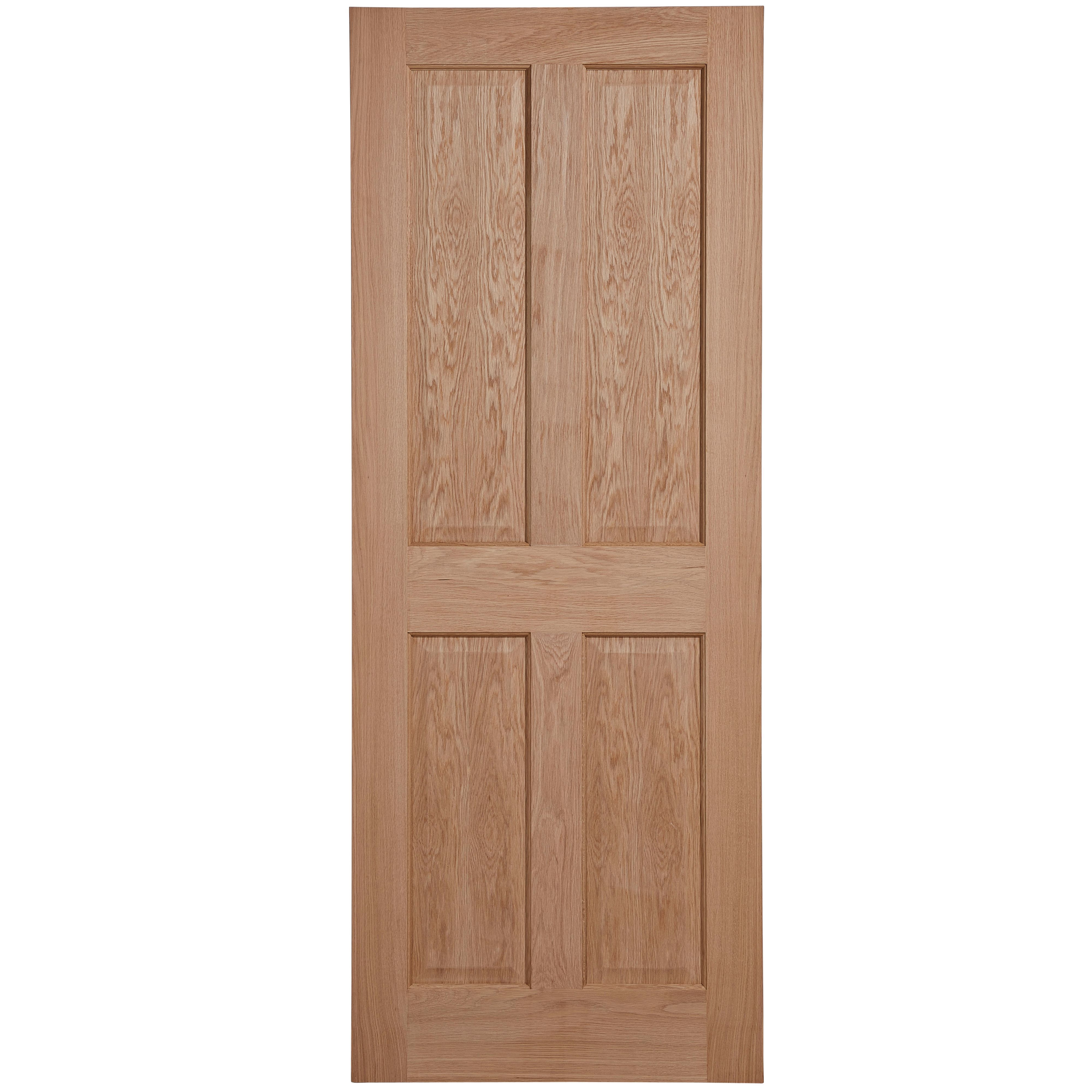 4 Panel Oak Veneer Unglazed Internal Standard Door, (h)1981mm (w)762mm