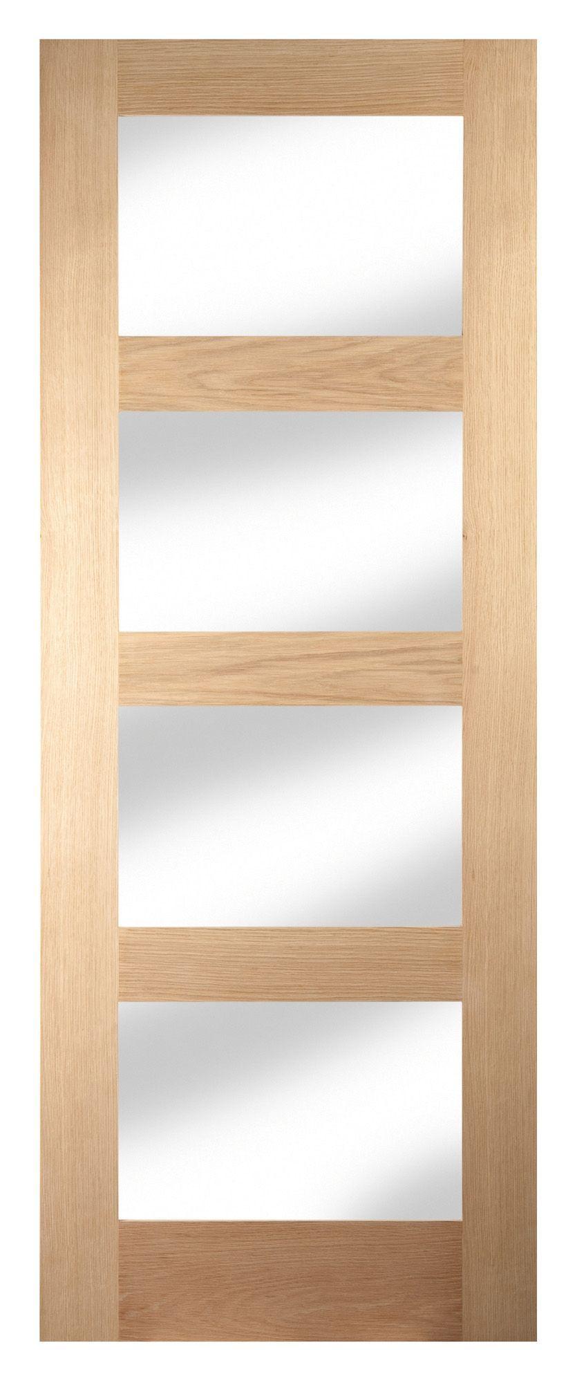 4 panel shaker oak veneer glazed internal standard door for Wood veneer garage doors