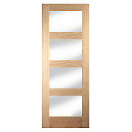4 Panel Shaker Oak Veneer Glazed Internal Door,