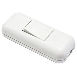 B&Q 2A 1-Way Single White Plastic Inline Switch