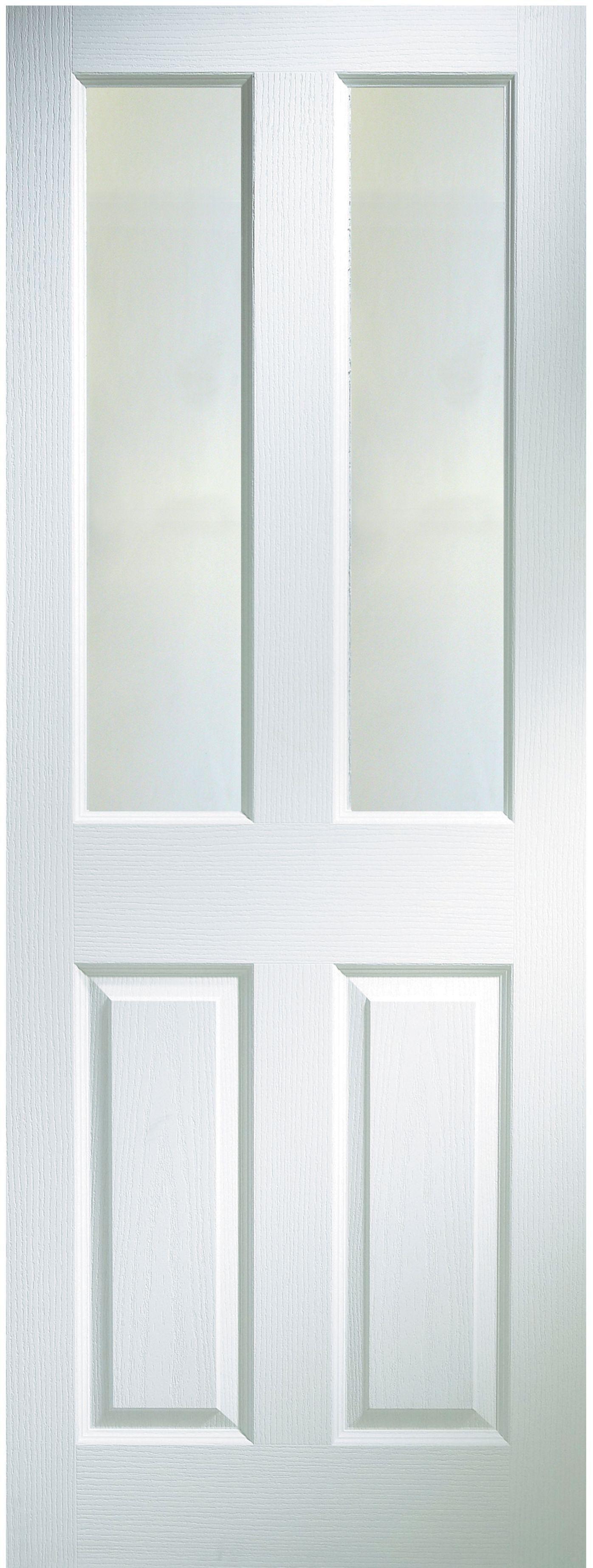 4 Panel Primed Woodgrain Glazed Internal Standard Door, (H)1981mm (W)762mm  | Departments | DIY At Bu0026Q