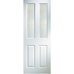 4 Panel Primed Woodgrain Glazed Internal Door, (H)1981mm