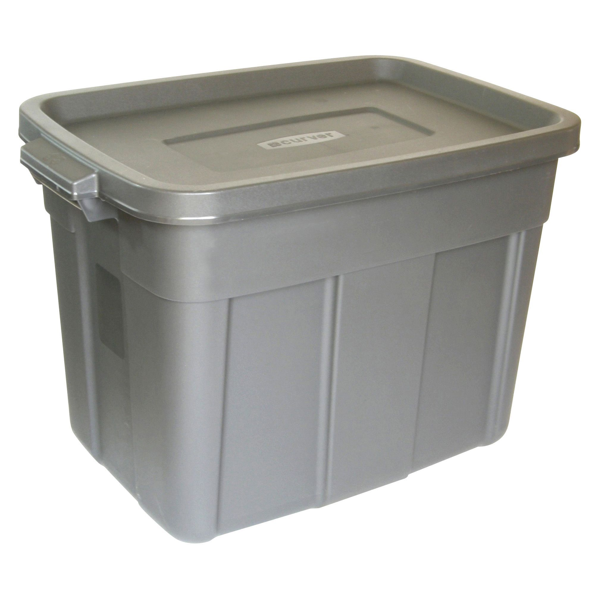 B Amp Q Grey 57l Plastic Storage Box Departments Diy At B Amp Q