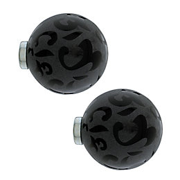 Colours Black Glass & Metal Ball Curtain Finial