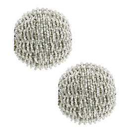 Colours Light Grey Bead Ball Curtain Finial (Dia)28mm,
