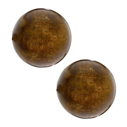 Colours Classic Wood Ball Curtain Finial (Dia)35mm, Pack