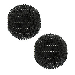 Colours Black Bead Ball Curtain Finial (Dia)35mm, Pack