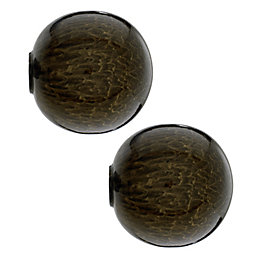 Colours Brown Marble Effect Metal Ball Curtain Finial